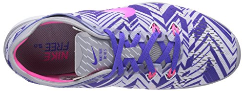 Nike Free TR 5 Print, Damen Laufschuhe Mehrfarbig (Wolf Grey/Pink Power-Person Volt-White 005)