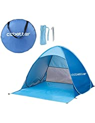 ccbetter Outdoor Automatic Pop up Instant Portable Cabana Family Beach Tent and Sun Shelter for 2 or 3 Person - Blue by ccbetter