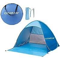 Strandzelt, Extra Leicht Automatik Strandmuschel mit Boden Sonnenschutz UV-Schutz, Familie Tragbares Strand-Zelt in Blau, Outdoor Beach Tent Tragbar