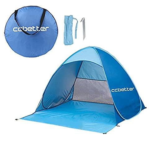 ccbetter Outdoor Automatic Pop up Instant Portable Cabana Family Beach Tent and Sun Shelter for 2 or 3 Person - Blue