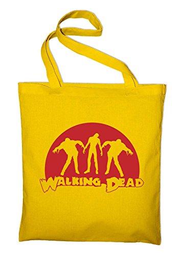 The Walking Dead Zombie Horror Jutebeutel, Beutel, Stoffbeutel, Baumwolltasche, gelb Gelb