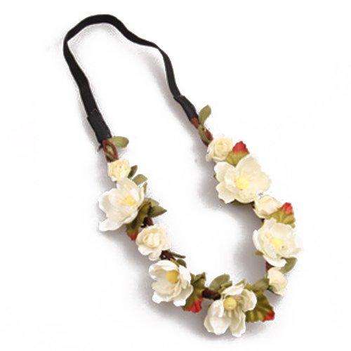 Bandeau-SODIAL(R) Fleur Boho Floral Bandeau Festival Guirlande Mariage Bandeau Nuptiale(blanc laiteux)