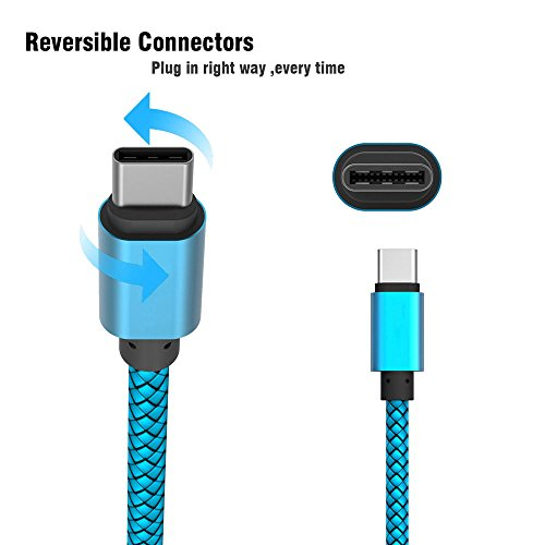 USB 3.1 Typ C Kabel, YANSHG® Reversible USB C Nylon geflochtenes Kabel für Samsung Galaxy S8 / S8 Plus, LG G6 / G5, Google Pixel, Nintendo Switch, MacBook, Fast Charger Cord - 2