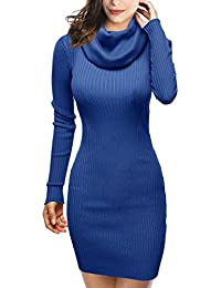 DJT Femme Robe en Maille Extensible Manches longues Col Capot Slim Fit Pull