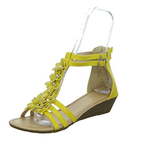 ideal shoes JT-2411 Damen Sandalette eleganter Boden Gelb (Gelb)