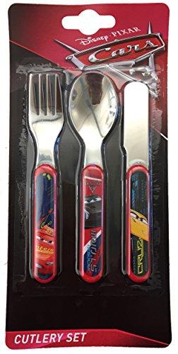 Disney Cars 3 Ensemble de 3 Couverts en métal, Acier Inoxydable, Multicolore, 11 x 1.5 x 23 cm