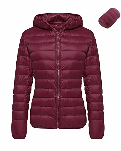 BONESUN Damen Jacke Verpackbar Leichte Daunenjacke Winter Steppjacke Mantel Weinrot#2 DE 38