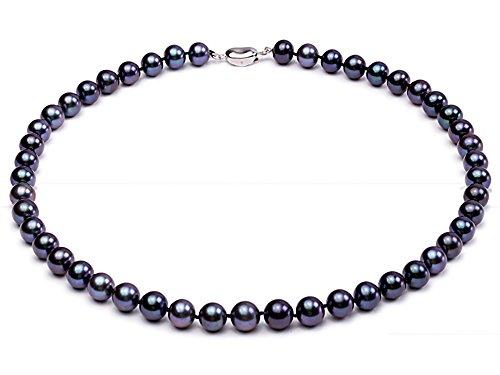 jyx rund schwarz 8-9 mm Süßwasser-Zuchtperle Halskette Schmuck Set (Halskette)