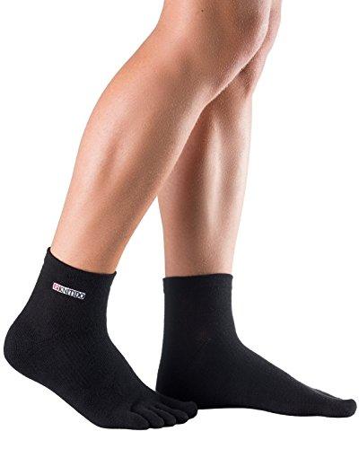 Knitido Track & Trail Caviglia - Classici calzini sportivi con dita in tessuto Coolmax® e suola imbottita Schwarz (101)