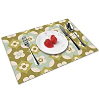 QCFW Placemats Place Mats Sets of 4 Table Mats PVC Washable Mat Heat Resistant Mat for Kitchen Garden BBQ Outdoor Seventies Flower 1960S