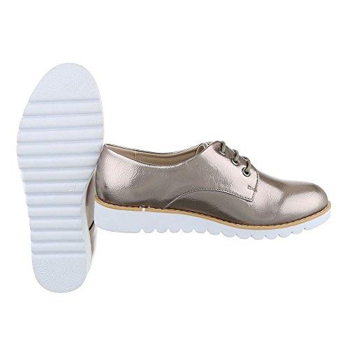 Schnürer Damenschuhe Oxford Schnürer Schnürsenkel Ital-Design Halbschuhe Silber Grau