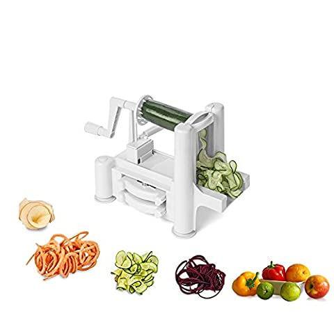 Spiralizer vegetable spiral slicer with cutter tool, eco friendly, dishwasher safe, steel tri blade - recommended for low carb meals, 90 day peace of mind