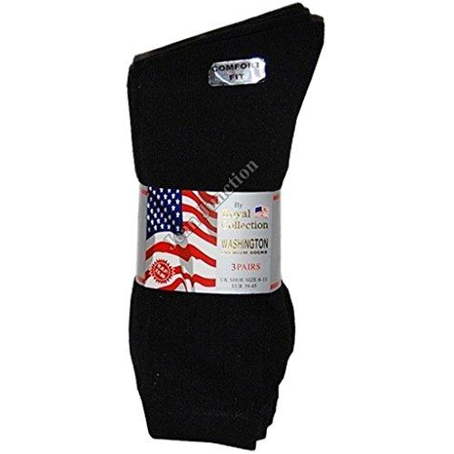 3Paar Royal Collection Washington Premium Sport und Im Alltag Socken Größe 6–11, schwarz, 12 Paar (Schwarz Washington Jeans)
