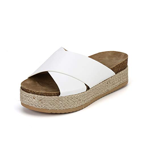Sandali Donna Estive Ciabatte Zeppa Open Toe Eleganti Espadrillas da Spiaggia Cross Fascia Mules Piattaforma 5.5cm Bianca EU41