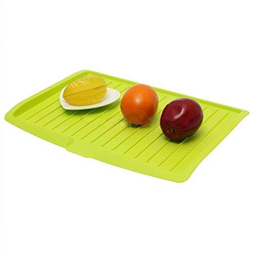 kommii Große Becken Dish Abtropfgestell, Waschen Holder Organizer Tablett für Küche, Trocknen Mats Abtropfgestell Abtropfschale Teller Besteck Rack Küche Spüle Rack Halter grün