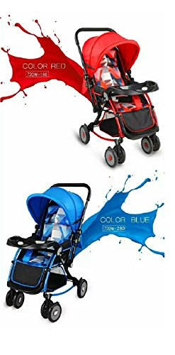 Baby Bucket Pram Cum Stroller cum rocker With Canopy - Red  available at amazon for Rs.5995