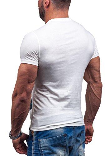 GLO STORY Herren T-shirt Figurbetont Kurzarm NEW! 7433 Weiß