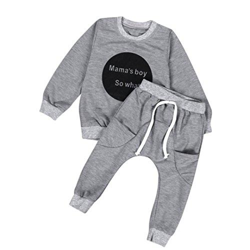 Bekleidung Longra Kleinkind Baby Jungen Outfit Kleidung Langarm T-shirt Tops + Hosen Kinder Kleidung(0-48 Monate) (80CM 6-12 Monate, Gray) (Mode Star Rock Hose)