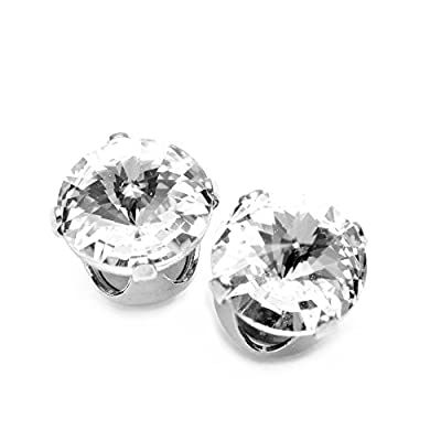 pewterhooter Large 9mm stud earrings made with sparkling diamond white crystal from SWAROVSKI®.