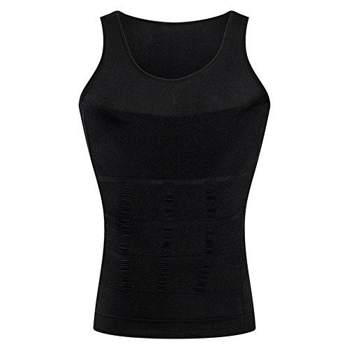 Unterhemd Männer Hoch (BaronHong Gynäkomastie Kompression Shirt Weste zu verstecken Mann Boobs Moobs Abnehmen Männer Shapewear Flatten Ganze Abdomen (schwarz, M))