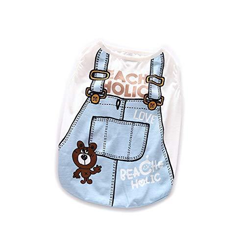 WEATLY Mode Kleidung Hund Jersey Baumwolle Weste Haustier Hund Kleidung Plaid (Farbe : Blau, Size : M) -