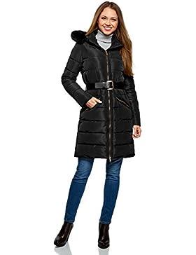 oodji Collection Mujer Abrigo Cálido con Cinturón