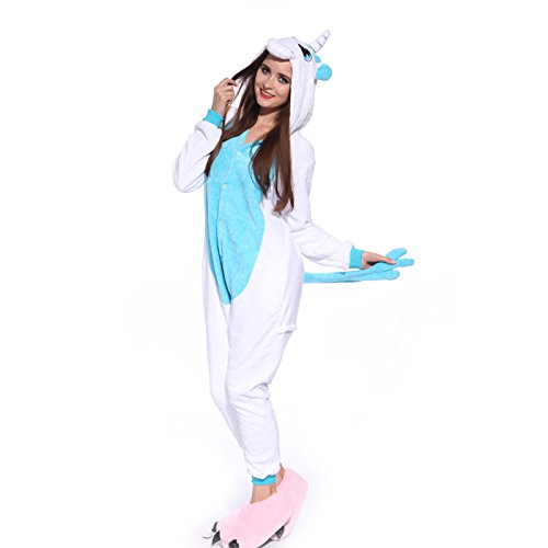 Kigurumi Kostüm Einhorn - Erwachsene DAMEN HERREN Einhorn Kostuem Kigurumi Kostuem Pyjama Schlafanzug Jumpsuit Tierkostuem Hausanzug