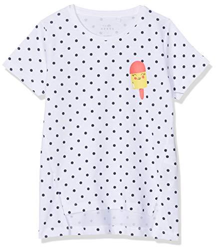NAME IT Mädchen NMFVIA SS TOP J T-Shirt, Mehrfarbig (Bright White AOP: Dots), Herstellergröße: 110 -