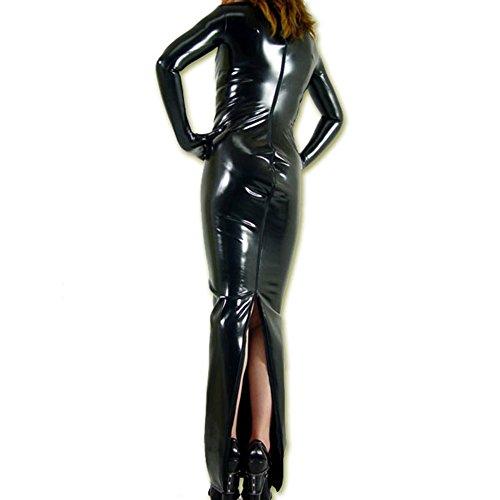 Rubberfashion langes Wetlook Abendkleid, glänzendes Wetlookkleid mit langen angearbeiteten Handschuhen für Frauen Menge: 1 Stück metallic Schwarz XXL