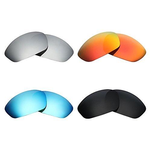 MRY 4Paar Polarisierte Ersatz Gläser für Oakley Gerade Jacke 2007sunglasses-stealth schwarz/fire rot/ice blau/silber titan