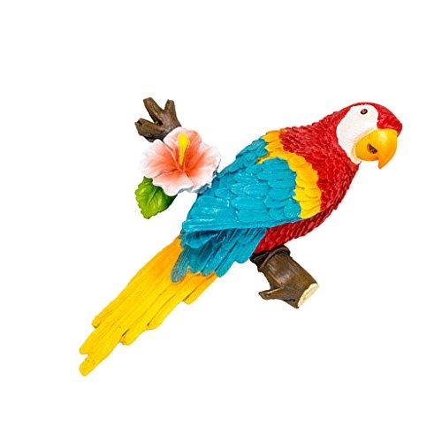 D DOLITY Wellensittich Gartenfigur Papagei Tiere Kunstharz Gartendeko - rot