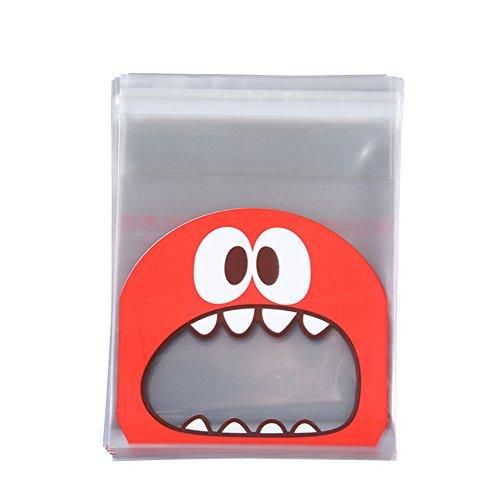 ie Süßigkeiten Plastiktüte Verpackung Taschen 100 stücke OPP Entzückende Schöne Kleine Monster Zähne Muster Backen Weihnachtsgeschenk Hochzeit ()
