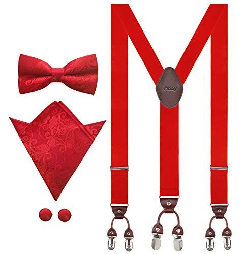 Aissy Hosenträger für Herren 3.5cm Y-Form Elastisch und Längenverstellbar Hosenträger Breit mit 6 starken Clips und Fliege & Einsteckuch YG Rot