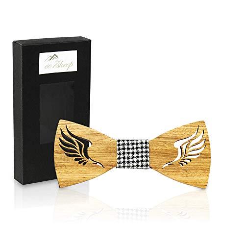 cc7sheep Holzfliege Fliege Schleife aus hochwertigen natürlichen Holz Zebra mit Verschluss und Etui Herren Krawatte Holzfliegen in Handarbeit Hochzeit (Zebra, Holz)
