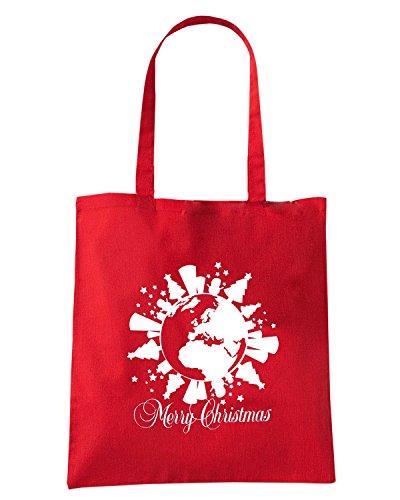 T-Shirtshock - Borsa Shopping T0393 merry christmas festivita Rosso