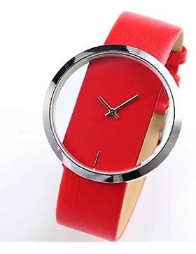 Armbanduhr - SODIAL(R) Quarz-Armbanduhr Elegantes Sport transparentes Zifferblatt Lederarmband Rot Unisex WAA026