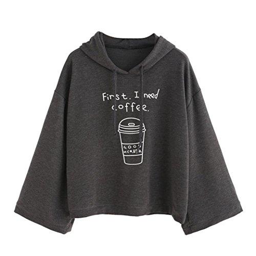 Sunnywill Lange Ärmel Brief drucken Hooded Sweatshirt Pullover Grau Top Bulsen für Mädchen Damen (Asien:L, Grau)