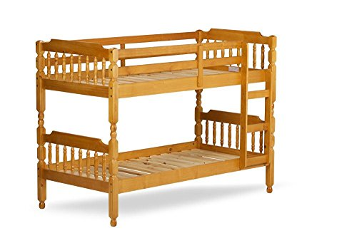 Happy Beds Colonial Solid Honey Pine Wooden Bunk Bed Kids Children Furniture with 2 Deluxe Reflex Spring Mattresses 2'6'' Small Single 75 x 190 cm