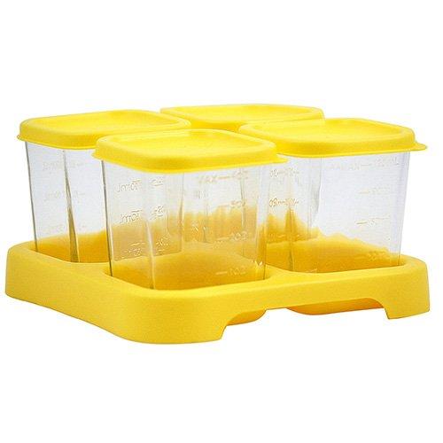Green Sprouts 185901-400-25 Aufbewahrungssystem für Babynahrung, 120 ml, 4- teiliger Set aus Glas, gelb