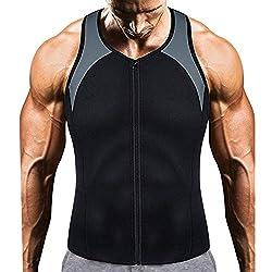 Rera Unisex Herren Damen Sauna Weste Shirt Shapewear Waist Trainer Neopren Sauna Schwitzanzug Körperformer Abnehmen Bauch Für Slimming Training (L, Schwarz Grau)