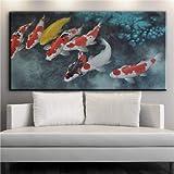 Wandkunst Leinwand Chinesische Kalligraphie Malerei Tinte Koi Fischteich Lotus Blume Bild Halle Wohnzimmer Dekor 40 * 80 cm Kein Rahmen