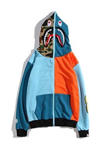 Bape Hoodie Boys|Street Fashion Style Bape Stitching Shark Hoodie Sweater Retro Contrast Color Zipper Cardigan