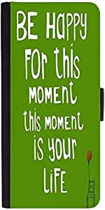 Snoogg Be Happy Boldness 2754 Graphic Snap On Hard Back Leather + Pc Flip Cov...