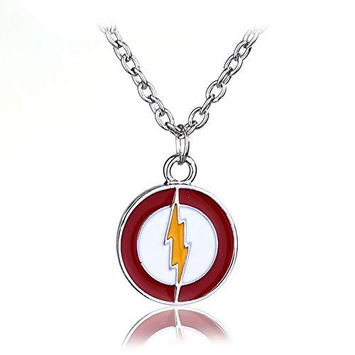 YinXX Die Flash-Zeichen Halskette Unisex Runde Form Kette Anhänger Halskette, DC Comics Umgebenden, ()