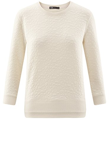 oodji Ultra Damen Sweatshirt aus Strukturiertem Stoff mit 3/4 Arm Elfenbein (3000N)