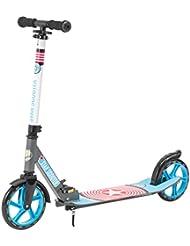 STAR-SCOOTER® XXL City Scooter Extragroß für einen sicheren Stand auch auf dem Schulweg ★ 205mm Big Foot Deck Edition ★ Grau & Blau