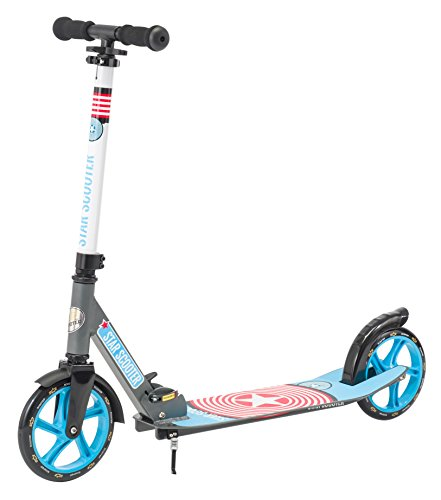 Star-Scooter Aluminium Kickscooter Roller Kinderroller Tretroller für Jungen und Mädchen ab 6-7 Jahre ★ Big 205mm Wheel mit XXL Trittbrett Scooter für Kinder und Erwachsene ★ Grau & Blau