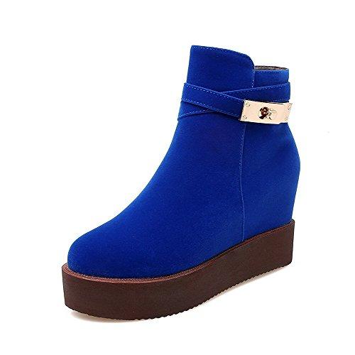 AllhqFashion Damen Reißverschluss Hoher Absatz Mattglasbirne Niedrig Spitze Stiefel Blau