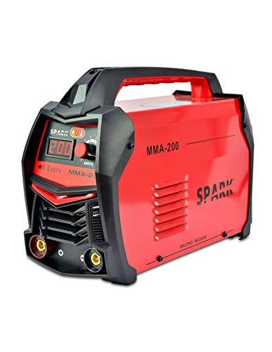Spark - Poste à souder à inverseur à électrode de 200 Amp avec masque de soudage et accessoires, 230 V, rouge, avec masque et accessoires - MMA-200
