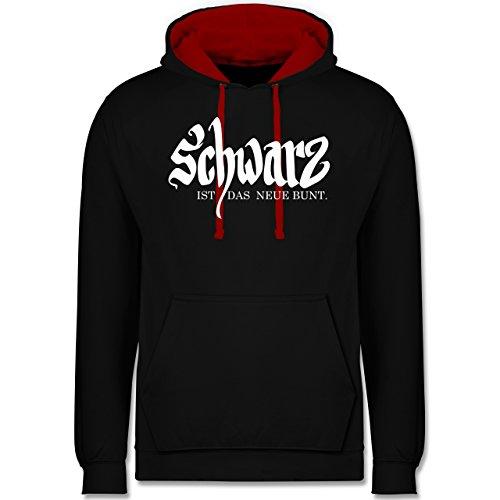 Sprüche - Schwarz ist das neue bunt - Kontrast Hoodie Schwarz/Rot